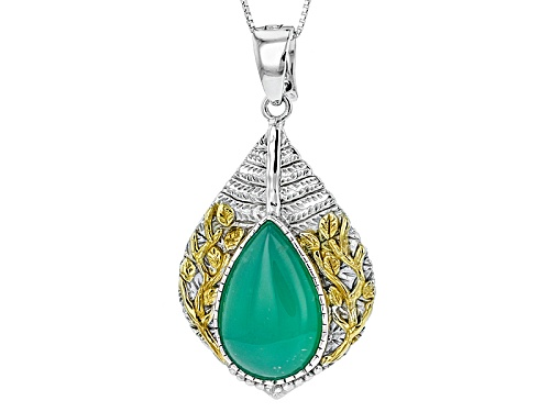 Photo of 22x14mm Pear Shape Chrysoprase Two-Tone Sterling Silver Enhancer With Chain