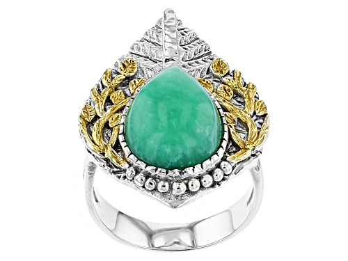 Photo of 14x10mm Pear Shape Chrysoprase Two-Tone Sterling Silver Ring - Size 6
