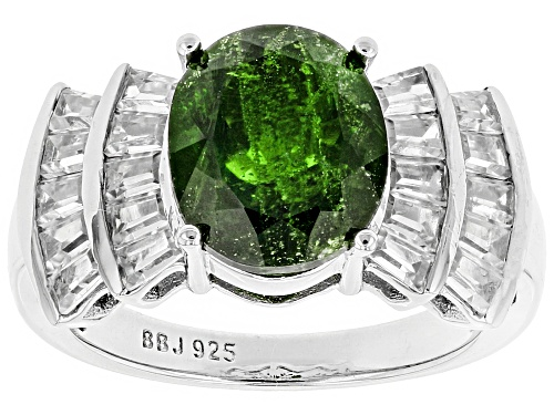Photo of 3.72ct Oval Russian Chrome Diopside With 2.00ctw Tapered Baguette White Zircon Sterling Silver Ring - Size 12
