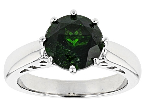 Photo of 2.62ct Round Russian Chrome Diopside Sterling Silver Solitaire Ring - Size 12