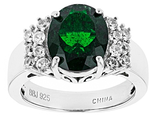 Photo of 3.16ct Oval Russian Chrome Diopside With .83ctw Round White Zircon Sterling Silver Ring - Size 12