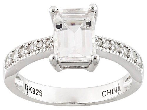 Photo of 1.36ct Emerald Cut Danburite And .29ctw Round White Zircon Sterling Silver Ring - Size 11