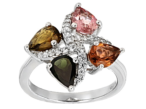 Photo of 1.96ctw Pear Shape Pink,Yellow, Green & Orange Tourmaline With .31ctw Round White Zircon Silver Ring - Size 5