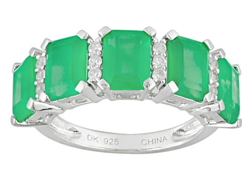Photo of 7x5mm Emerald Cut Green Onyx And .23ctw Round White Zircon Sterling Silver 5-Stone Band Ring - Size 7