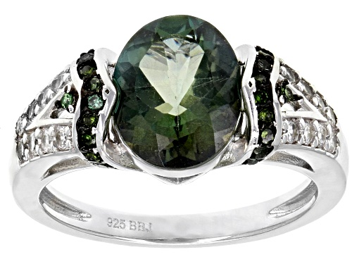 Photo of 1.95ct Green Labradorite With .34ctw White Zircon And .10ctw Green Diamond Sterling Silver Ring - Size 12