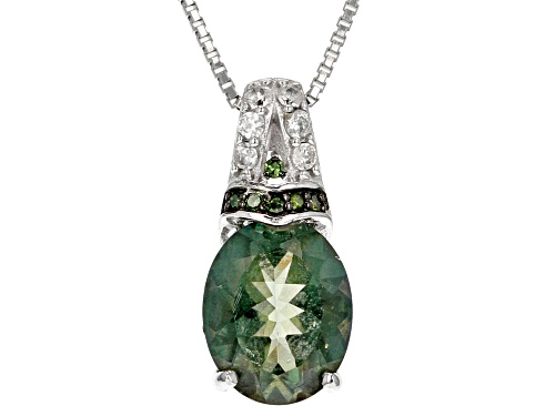 Photo of 2.07ctw Green Labradorite, White Zircon And 2 Green Diamond Accent Silver Pendant With Chain