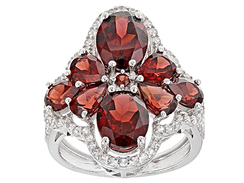 Photo of 5.98ctw Oval, Pear Shape And Round Vermelho Garnet™ And .88ctw Round White Zircon Silver Ring - Size 5