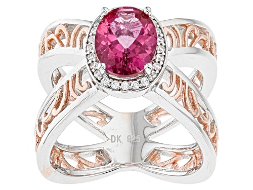 Photo of 1.52ct Oval Pink Danburite And .14ctw Round White Zircon Rose Two-Tone Sterling Silver Ring - Size 8