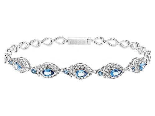 Photo of 2.13ctw Pear Shape And Round Lab Created Blue Spinel And 1.86ctw Round White Zircon Silver Bracelet - Size 8