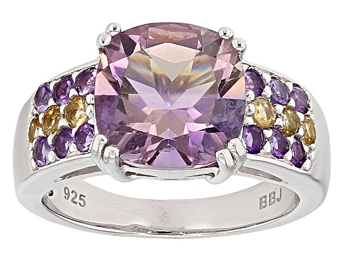 Photo of 3.65ct Square Cushion Ametrine With .39ctw Round Amethyst And .22ctw Round Citrine Silver Ring - Size 5