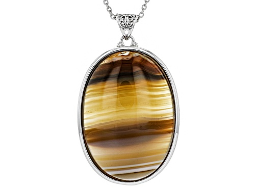 Photo of 35x25mm Oval Cabochon Red Bela Pedra Agate Silver Solitaire Pendant With Chain