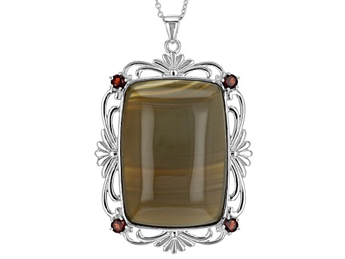 Photo of 35x25mm Rectangular Cushion Cabochon Red Agate, .85ctw Vermelho Garnet™ Silver Pendant W/Chain