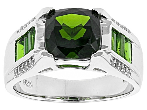 Photo of 2.53ctw Square Cushion And Baguette Russian Chrome Diopside With .12ctw White Zircon Silver Ring - Size 4