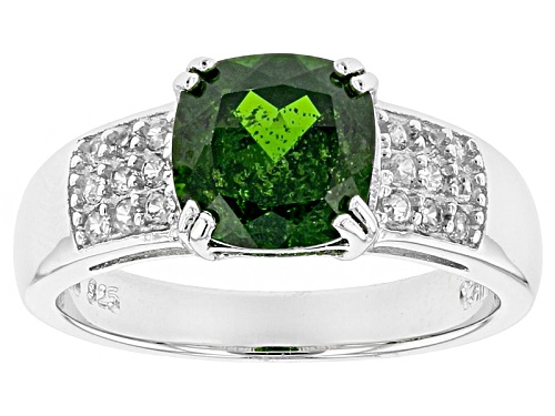 Photo of 1.96ct Square Cushion Russian Chrome Diopside With .26ctw Round White Zircon Sterling Silver Ring - Size 11