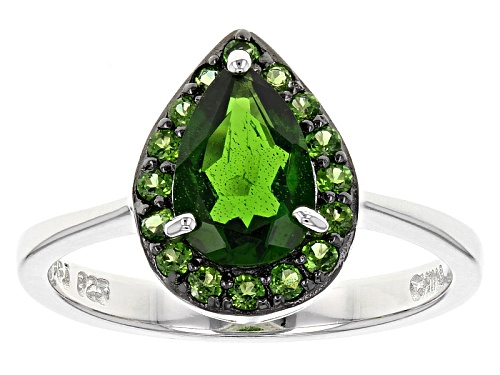 Photo of 1.60ctw Pear Shape And Round Russian Chrome Diopside Sterling Silver Ring - Size 12