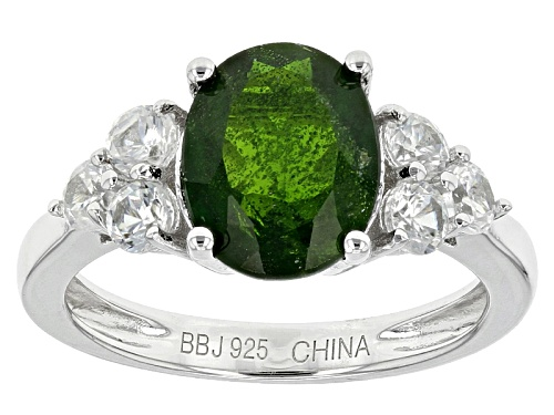 Photo of 2.70ct Oval Russian Chrome Diopside With .87ctw Round White Zircon Sterling Silver Ring - Size 12