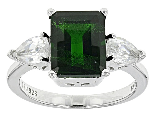 Photo of 3.43ct Emerald Cut Russian Chrome Diopside With 1.40ctw Pear Shape White Zircon Sterling Silver Ring - Size 4