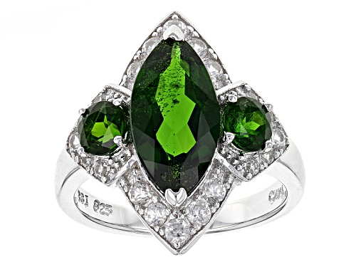 Photo of 3.74ctw Marquise And Round Russian Chrome Diopside With .75ctw White Zircon Rhodium Over Silver Ring - Size 9
