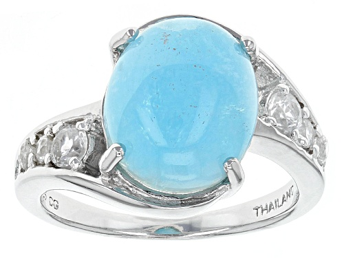 Photo of 12x10mm Oval Cabochon Hemimorphite With .49ctw Round White Zircon Sterling Silver Ring - Size 7