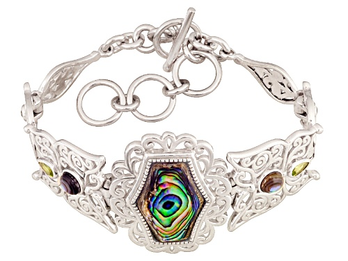 Photo of Fancy Cut And Round Cabochon Abalone Shell With .60ctw Manchurican Peridot™ Silver Bracelet - Size 7.25