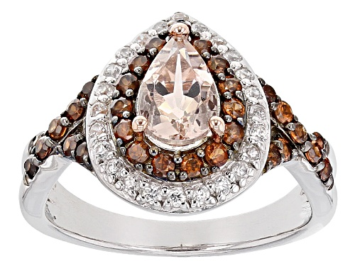 Photo of 1.69ctw Pear Shape Morganite And Round White And Brown Zircon Sterling Silver Ring - Size 8