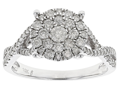 Photo of Diamond .90ctw Round 10k White Gold Cluster Ring - Size 5
