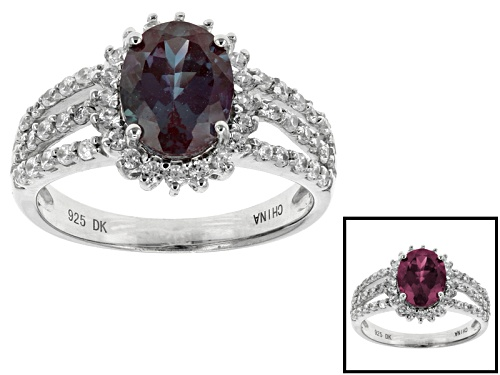 Photo of 1.83ct Oval Lab Created Color Change Alexandrite And .43ctw Round White Zircon Sterling Silver Ring - Size 12