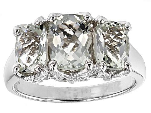 Photo of 3.40ctw Rectangular Cushion Prasiolite Sterling Silver 3-Stone Ring - Size 12