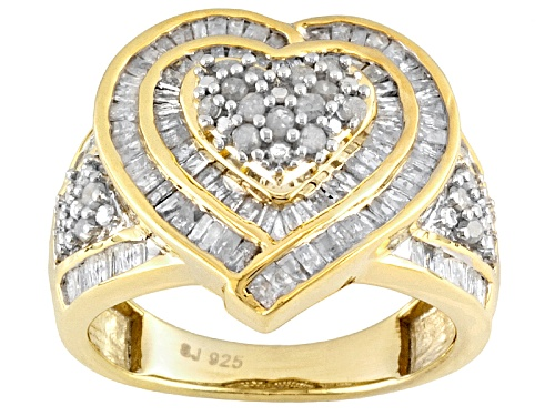 Photo of Diamond 1.05ctw Baguette & Round 14k Yellow Gold Over Sterling Silver Heart Shape Ring - Size 4