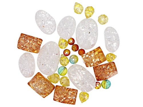 Photo of 1/4 lb Quench Cracked Quartz & Quench Cracked Glass Bead Bag in assorted shapes, colors & sizes