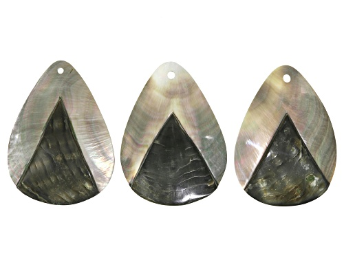 Photo of Mother of Pearl Pendant Set of 3 appx 61x45mm