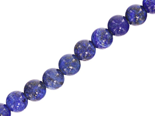 """Photo of Lapis Lazuli appx 8mm Round Large Hole appx 2.5mm Bead Strand appx 8"""""""