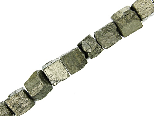 """Photo of Pyrite Rough Cube appx 11x8-13x11mm Shape Bead Strand appx 15-16"""""""
