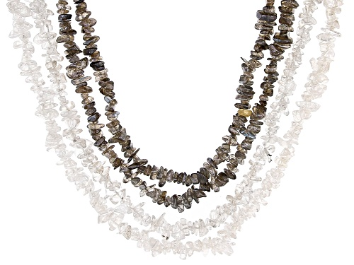 """Photo of Endless Chip Strands Set of 4 including 2 in Labradorite and 2 in Rock Crystal Quartz appx 32-34"""""""