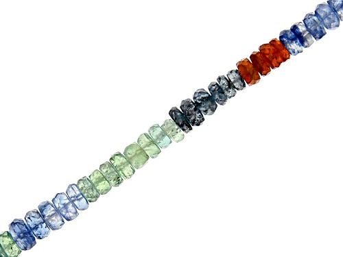 "Photo of Multi Color Kyanite Appx 3-5mm Graduated Faceted Rondelle Bead Strand Appx 15-16"" in length"