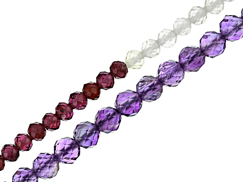 "Photo of Multi-Stone Appx 2-3mm Bead Strand Set of 2 Appx 15-16"" in length"