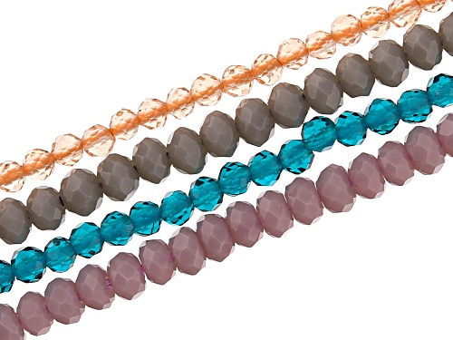 """Photo of Glass Multi Color Faceted Bead Strand Set of 4 Appx 15-16"""" in length"""