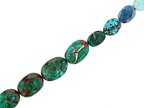 "Photo of Chrysocolla Azurmalachite in Matrix Oval Bead Strand Appx 8"" in length"
