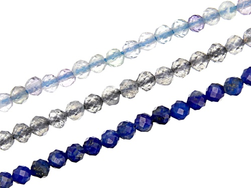 Photo of Lapis Lazuli, Fluorite, & Labradorite Microfaceted Appx 2mm Round Bead Strand Set of 3 Appx 15-16""