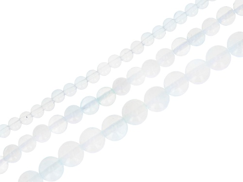 """Opalite Appx 4, 6, & 8mm Round Bead Strand Set of 3 Appx 14-15"""""""