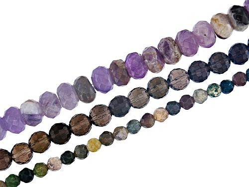 Photo of Amethyst 8mm Rondelle, Fancy Chalcedony 4mm  Round,&Smoky Quartz 6mm Round Faceted Bead Strand Set/3