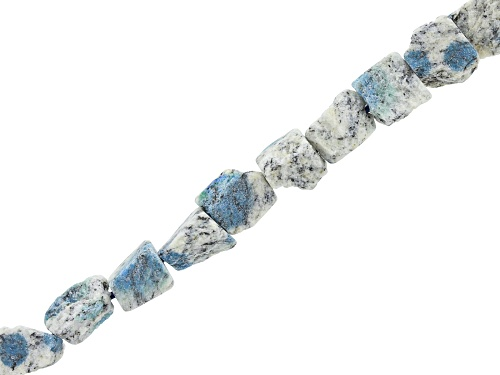 "Photo of Azurite in Granite Matrix Rough Tumbled Nuggets Bead Strand Appx 15-16"" Length"