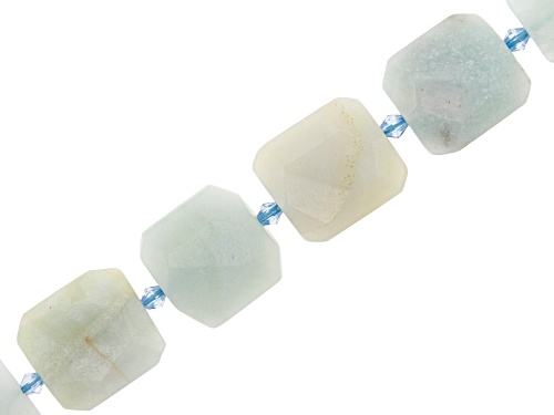 Photo of Green Quartzite Faceted appx 18x20mm Square Bead Strand appx 15-16""