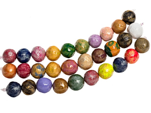 Photo of Mache-Mache Paper Beads 3 Strands (10 Beads Per Strand) Hand Painted And Glazed In Vivid Colors