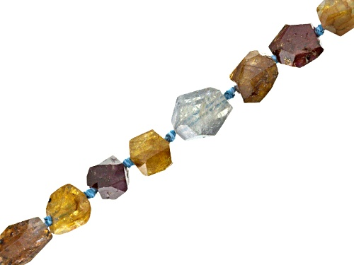 Multi-Sapphire And Zircon Hand Faceted Hand Knotted Bead Strand Appx 16""