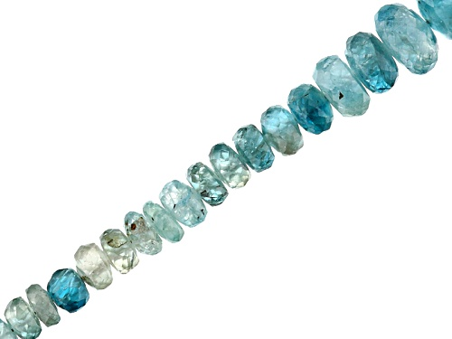 """Photo of Blue Zircon Appx 3-6mm Graduated Faceted Rondelle Bead Strand Appx 18"""""""