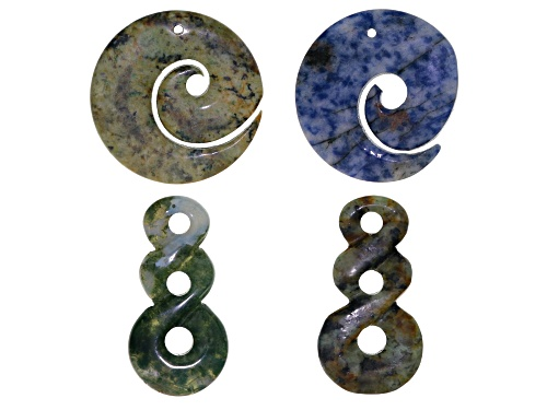 Photo of Hand-Carved Pendant Set/4 Includes Graduated 3-Hole Twist Style & Spiral Style In Assorted Stones