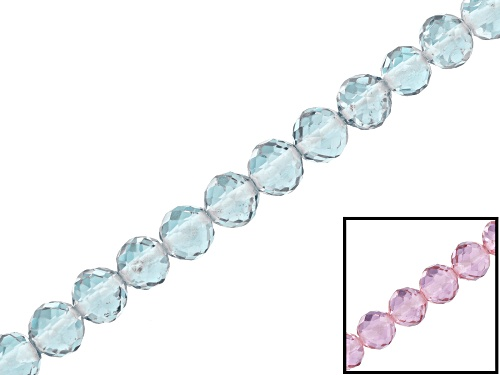 """Photo of Color-change synthetic zandrite appx 4mm faceted round bead strand appx 16"""""""