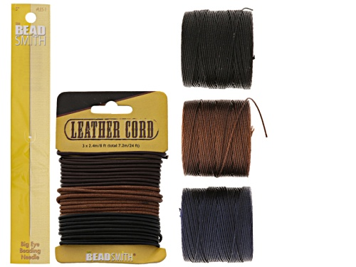 Photo of Endless Loom Cord Supply Kit Incl Leather Cord, S-Lon & Needles