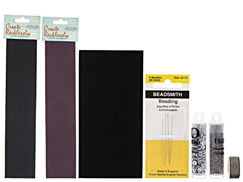 Photo of Leather Bracelet Making Supply Kit In Black/Wine Incl Leather, Beads, Ultrasuede, Needle & Thread
